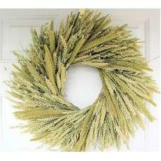 Green Mixed Wheat Wreath - 19 inch