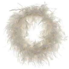 White Chandelle With Lurex Wreath 18 inch diameter