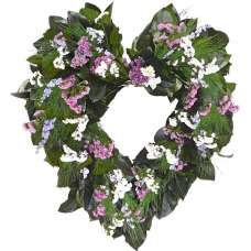 Dried Beautiful Flower Heart Wreath - 22 inch